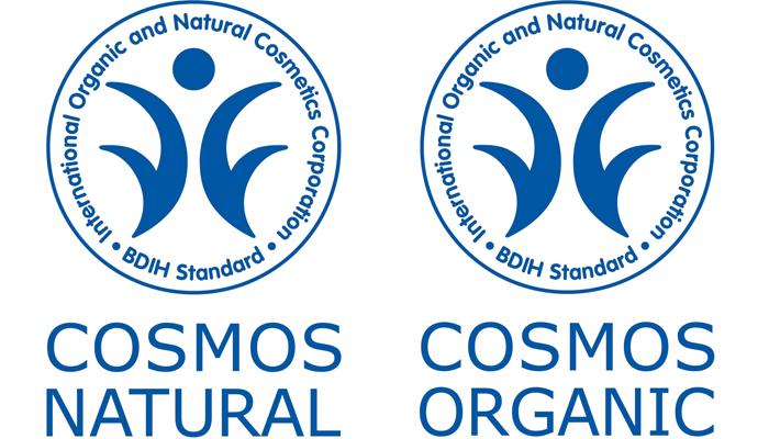 """Das BDIH-Label mit den Zusätzen """"COSMOS NATURAL"""" und """"COSMOS ORGANIC"""""""